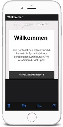 braintronics® II App Willkommensbildschirm